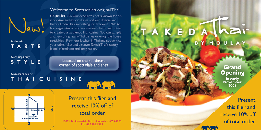 Takeda Thai Restaurant Flier